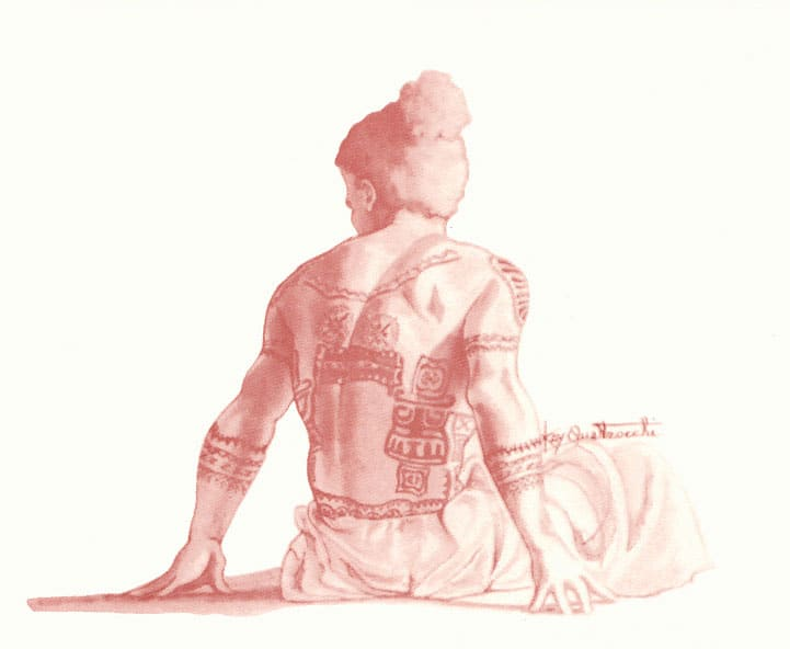 Painting of the back of a man with traditional tattoos and clothing by Kay Quattrocchi