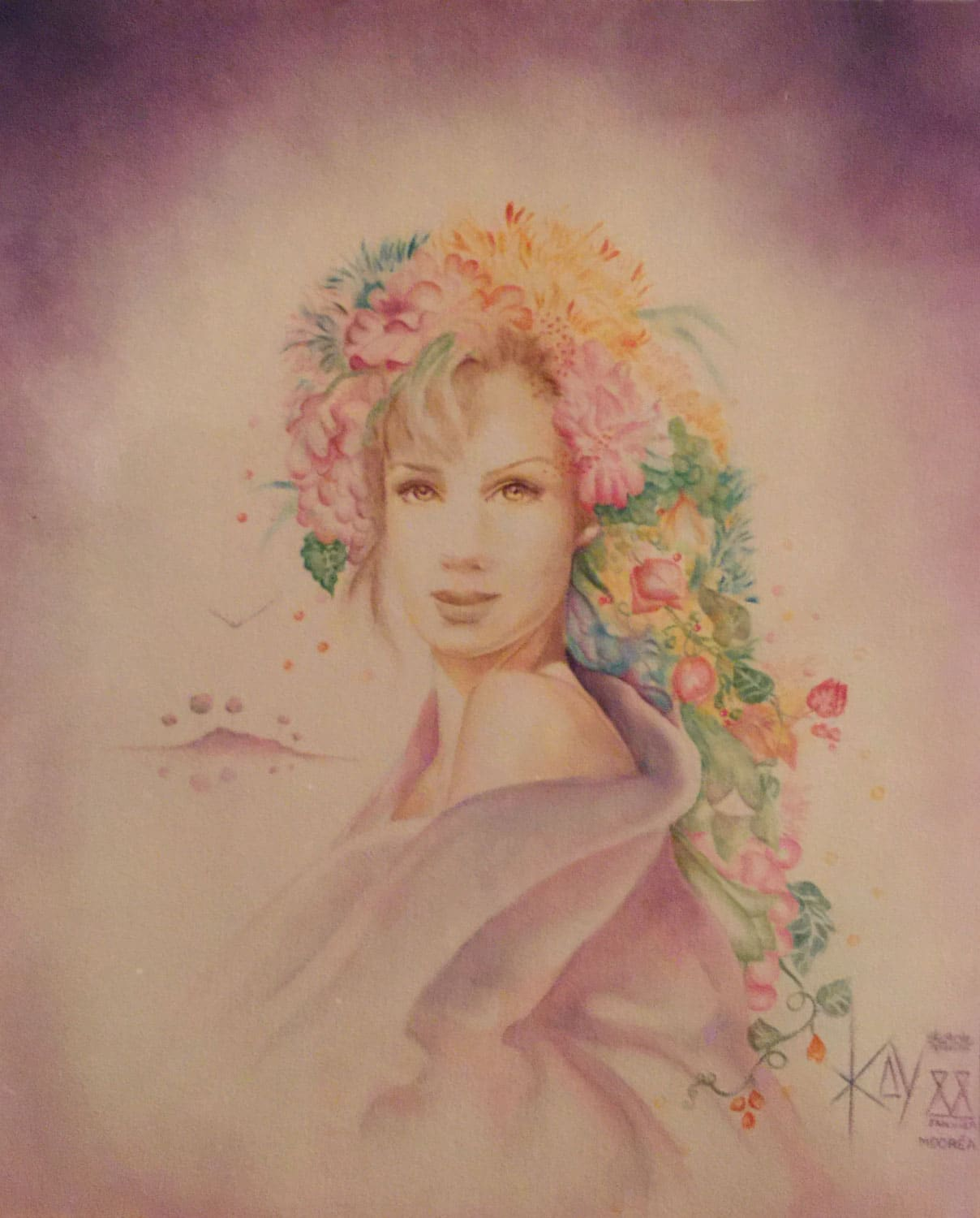 Painting of woman with flower decoration in her hair.