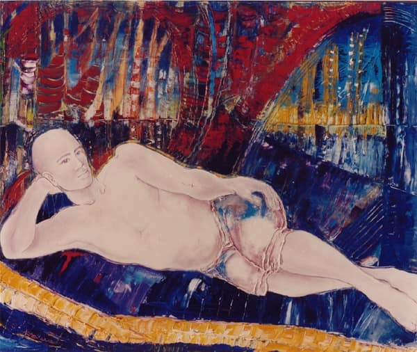 L'homme du Bronx is an oil painting by Kay Quattrocchi showing a man inn shorts laying on a bed.