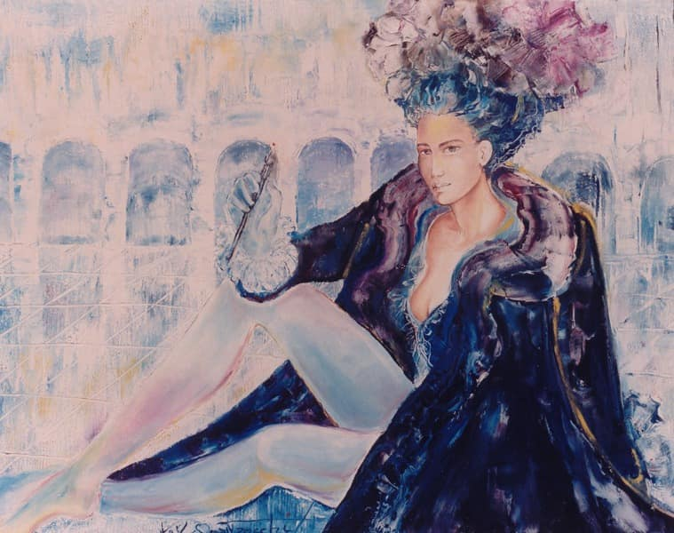 Oil painting by Kay Quattrocchi showing a woman sitting on the italian square San Marco.