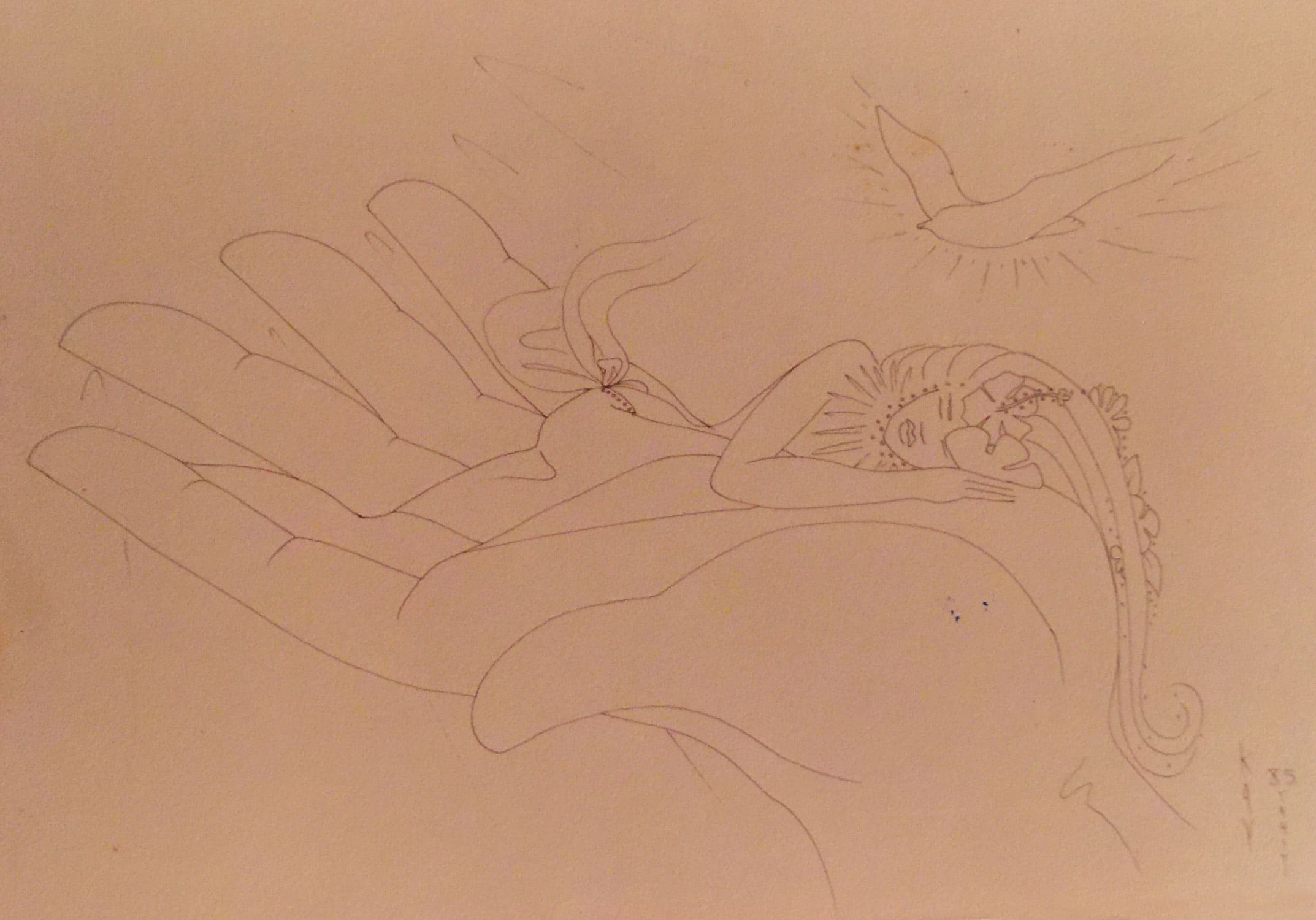 Drawing on paper of a tahitian woman sleeping in the palm of a hand.