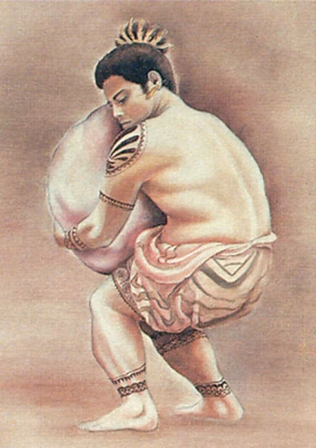 The stone carrier shows a Tahitian man in traditional clothing carrying a heavy stone.