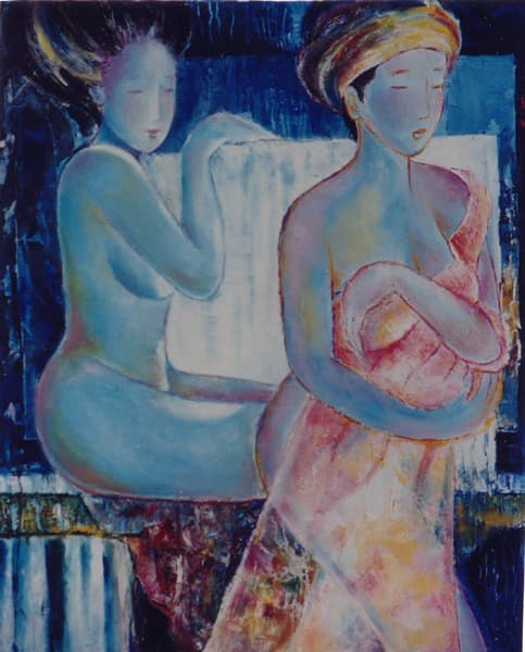 Oil painting by Kay Quattrocchi showing two Geishas taking a bath. The mind clinging to the cube of matter and the self hidden behind the veil of illusion.