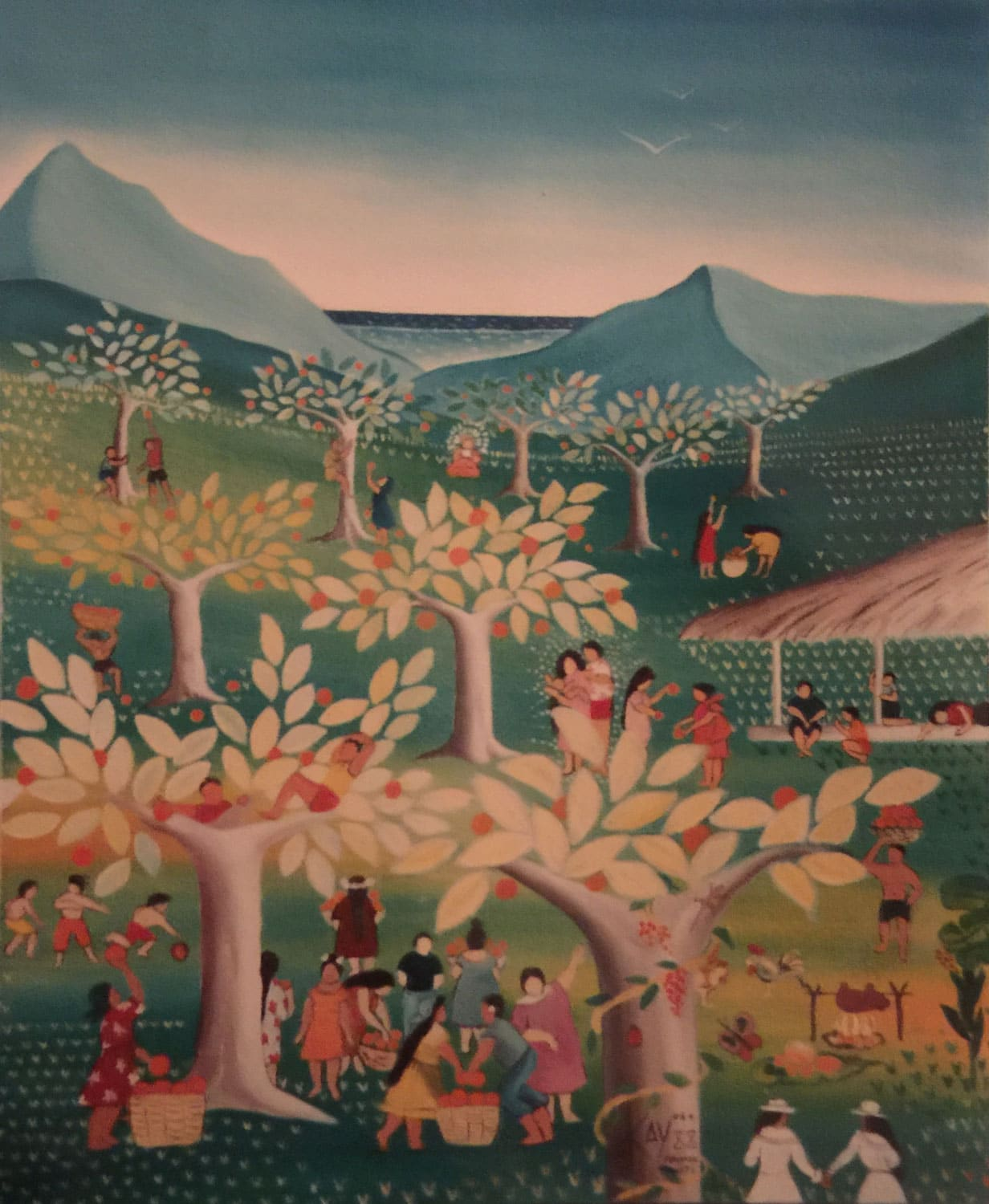 Naive painting by Kay Quattrocchi of an Orange orchard in Punaruu, Tahiti.