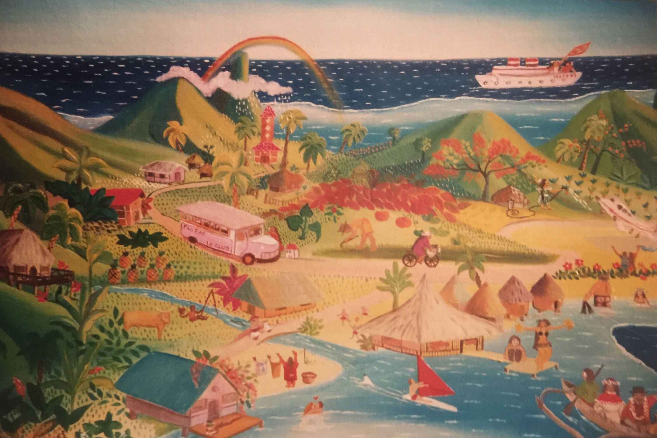 Naive painting of a beach and island scenery in Tahiti.