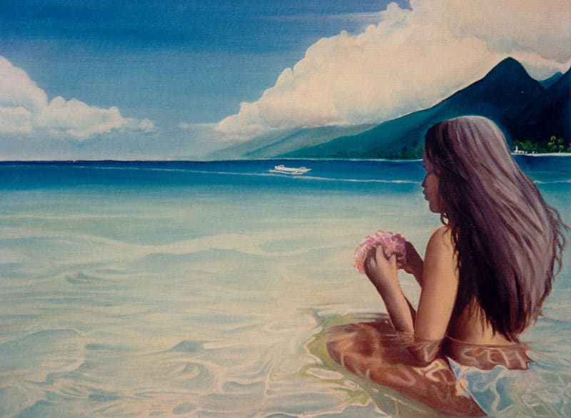 Painting of girl kneeling in the shallow water of a Tahitian beach with dark mountains in the background.