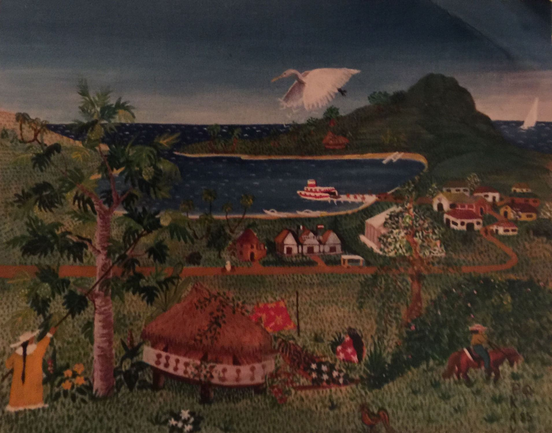 Naive painting of a Tahitian landscape with farmers, Egret and sailboat.
