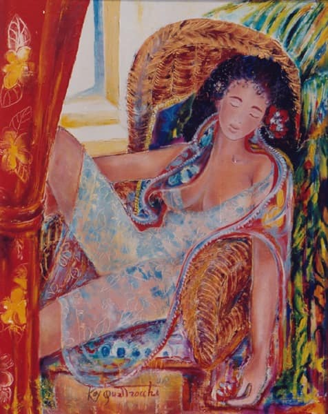 Oil painting by Kay Quattrocchi showing Saphia, a young woman sitting in an arm chair.