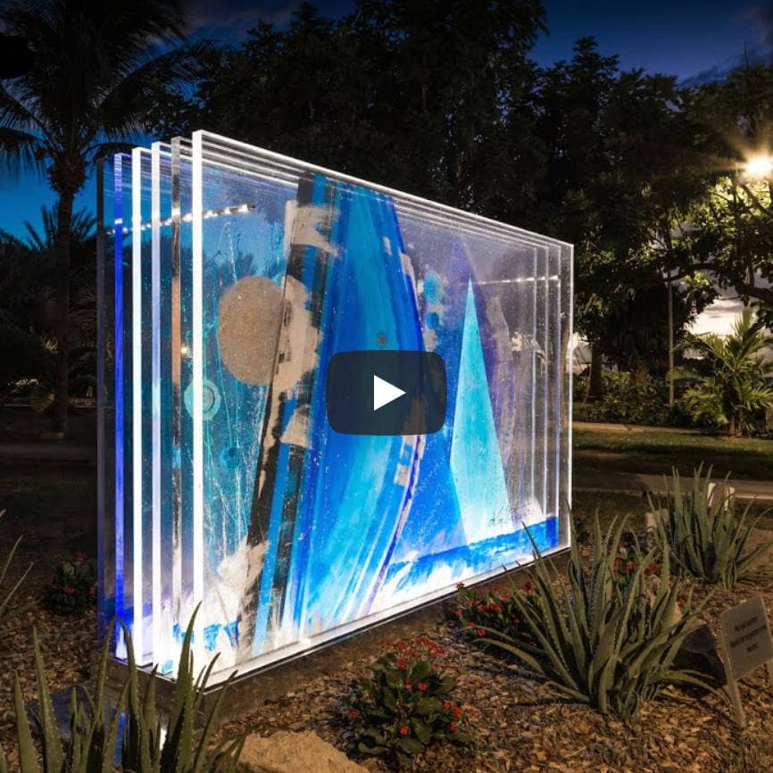The 'Wall of Light' installation in St. Barth