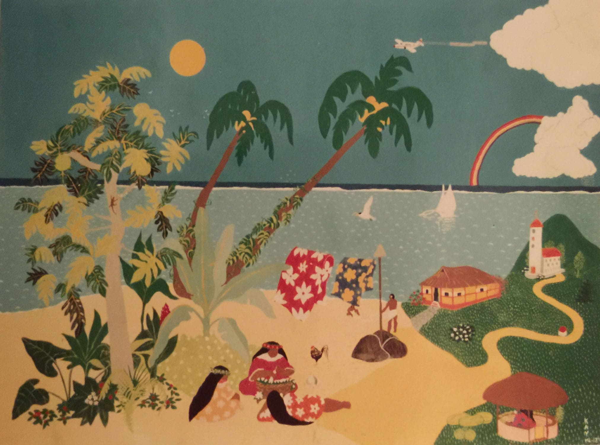 Naive painting of a beach scenery with rainbow in Tahiti with three ladies sitting and laying around a basket.